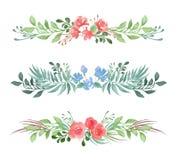 Вектор установил декоративных флористических романтичных границ для карты или приглашения в стиле акварели на белой предпосылке бесплатная иллюстрация