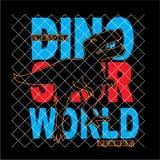 Вектор футболки оформления силуэта мира динозавра иллюстрация штока