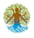 Вектор человеческий, индивидуальность выводя от волны воды и окруженная листьями зеленого цвета eco Нетрадиционная медицина, граф иллюстрация вектора