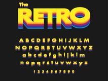 Вектор ретро смелейшего шрифта и алфавита бесплатная иллюстрация