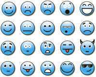 вектор 20 smilies. 20 funny emotional people convey different feelings. Smiles for the symbol Royalty Free Stock Images