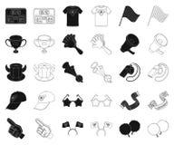 Вентилятор и атрибуты черные, значки плана в установленном собрании для дизайна Иллюстрация сети запаса символа вектора вентилято иллюстрация вектора