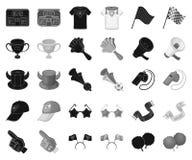 Вентилятор и атрибуты черные, monochrome значки в установленном собрании для дизайна Иллюстрация сети запаса символа вектора вент бесплатная иллюстрация