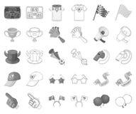 Вентилятор и атрибуты monochrome, значки плана в установленном собрании для дизайна Сеть запаса символа вектора вентилятора спорт бесплатная иллюстрация