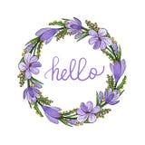 Венок весны с фиолетовыми крокусами и мимозой и здравствуйте литерность иллюстрация штока