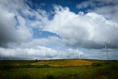 Ветротурбины производя электричество с голубым небом стоковая фотография rf
