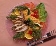 Vermicelli with chicken royalty free stock photography