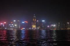 версия ночи Гонконга стоковые фотографии rf