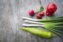 Верхняя съемка, конец вверх красочной молодой весны свежо жать, органических, хрустящих, сочных свежих овощей на деревенском дере стоковые изображения
