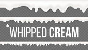 Взбитый вектор картины сливк Белая сметанообразная свирль Ванильный десерт молока Сладостное украшение Вкусный вертитесь 3D реали иллюстрация штока