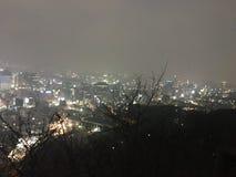 Взгляд ночи на пике горы Nanshan, Южной Кореи стоковое фото