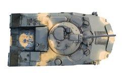Взгляд сверху боевой машины пехоты на белой изолированной предпосылке бак стоковое изображение rf