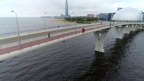 Взгляд трутня к мосту моря видеоматериал