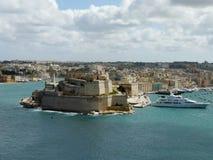 """Взгляд форта Sant """"Angelo в городе Birgu, Мальты стоковые фото"""
