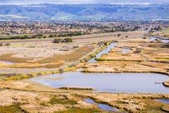 Взгляды болота, парк холмов койота региональный, восточный San Francisco Bay, Fremont, Калифорния стоковые фотографии rf