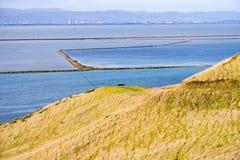Взгляды к San Francisco Bay от холмов регионального парка койота, Fremont, Калифорния стоковые фотографии rf