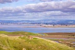 Взгляды к San Francisco Bay от холмов регионального парка койота, Fremont, Калифорния стоковые изображения rf
