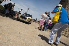 винтажная гоночная машина на miglia mille стоковое фото