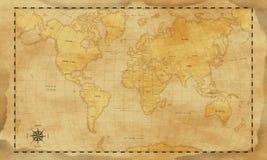 Винтажная предпосылка карты мира стиля стоковая фотография rf