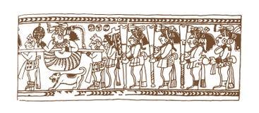 Винтажные графические глифы Майя, inca и ацтекские орнаменты и символы зодиака в старом американском индийском стиле вектор иллюстрация штока