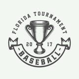Винтажный логотип спорта бейсбола, эмблема, значок, метка, ярлык иллюстрация штока
