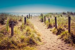 Винтажное фото песочной тропы с тростниками травы и деревянными столбами на каждой стороне водя к красивому заливу со спокойствие стоковое изображение rf