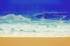 Винтажное ретро изображение пляжа в Калифорния, США стоковая фотография rf