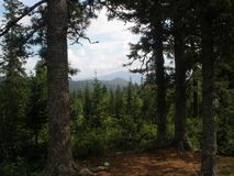 View of the Ural mountains. Summer ascent. stock photo
