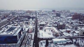 Вид с воздуха городка в России во время зимы акции видеоматериалы