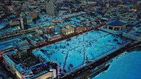 Вид с воздуха Казани во время ночи сток-видео