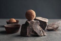 Вкусная сырцовая шишка трюфеля и шоколада стоковая фотография