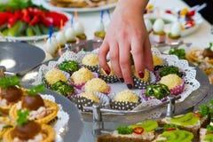 Вкусные блюда закуски на белой таблице шведского стола на банкете партии, под открытым небом партии лета стоковое изображение