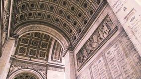 Внутри свода триумфа Франция paris Панорамная съемка сток-видео