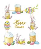 Easter frame with an inscription Happy Easter with a rabbit, cakes and decorated eggs on a white background vector illustration