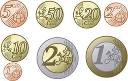 Все монетки евро Европейского союза иллюстрация вектора