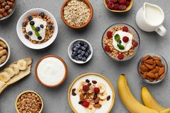 Выберите вашу здоровую концепцию завтрака стоковые изображения