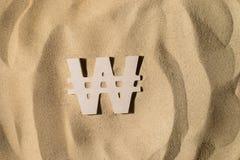 Выигранный знак на песке стоковая фотография rf