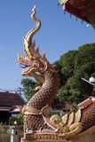 Высекаенный попечитель змея naga защищая вход на плюшке Rueang Wat Sri стоковые фотографии rf
