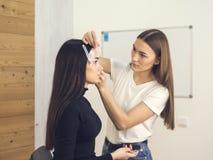 В салоне красоты делая макияж Мастер и клиент , формировать брови стилизатора красоты стоковые изображения