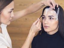 В салоне красоты делая макияж Мастер и клиент , формировать брови стилизатора красоты стоковое изображение