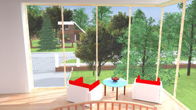 �edroom with garden view stock footage
