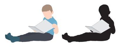 Возлежать мальчика сидя и чтение книги, силуэта также вектор иллюстрации притяжки corel стоковые фото