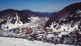 Воздушный ландшафт в России во время зимы видеоматериал