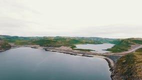 Воздушный ландшафт северной природы осени Полуостров Kola в России около городка Kandalaksha акции видеоматериалы
