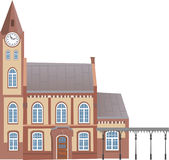 вокзал 1. Old factory building or station to the clock on the facade vector illustration