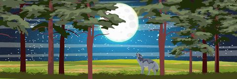 Волк завывает на луне ноча иллюстрация вектора