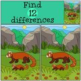 Воспитательная игра: Разницы в находки Панда матери идет с милым младенцем иллюстрация вектора