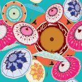 Восточные мульти-цвета зонтиков на teal иллюстрация вектора