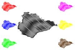 Восточный вектор карты Сассекс иллюстрация вектора