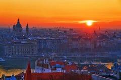 Восход солнца Будапешта стоковая фотография